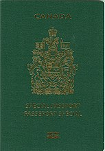 "Cover of Canadian Special e-Passport.  Cover is green colour with a gold-coloured crest.  Text reads ""CANADA"" above the crest, and bilingual ""SPECIAL PASSPORT"" and ""PASSEPORT SPÉCIAL"" below the crest"