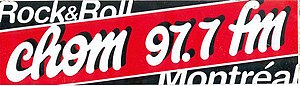 CHOM-FM - Promotional bumper sticker distributed in the 1990s by CHOM-FM with its 1990s logo (an updated version of the 1980s cursive logo). Logo facelifts were made in the 1990s until its retirement in 2002.