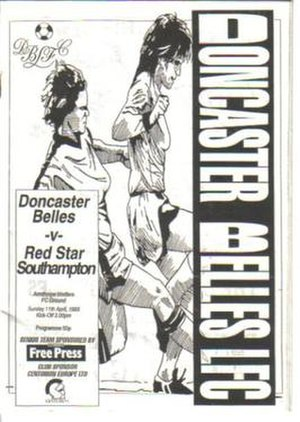 Doncaster Rovers Belles L.F.C. - The official programme from a home game against Red Star Southampton on 11 April 1993