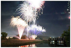 Derby, Connecticut - Annual fireworks display from the Derby-Shelton Bridge