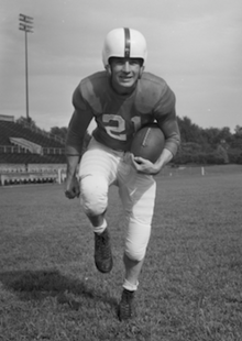 Don Phelps on a football field in a Kentucky uniform in 1948
