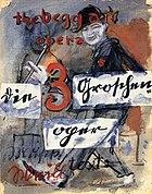 Billboard advertising Die Dreigroschenoper by Bertolt Brecht. The Weimar era was dominated by political unrest and cultural liberation.