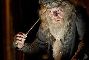 Wand - Albus Dumbledore from the Harry Potter series, depicted holding the Elder Wand the most powerful wand in J.K. Rowling's Wizarding World. The Elder Wand is one of the Deathly Hallows.