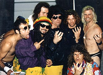 INXS: Live at Barker Hangar - Dread Zeppelin with Michael Hutchence (second from right) of INXS at Barker Hangar, Santa Monica Airport, May 1993