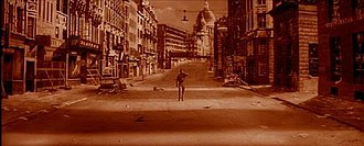 The Day the Earth Caught Fire - In the film's orange-infused opening sequence, Edward Judd walks through a devastated and deserted London.