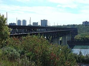 High Level Bridge (Edmonton) - Edmonton's High Level Bridge from north bank, above LRT portal, September 2006