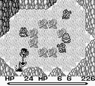 Final Fantasy Adventure - Hero attacking an enemy with the sickle weapon