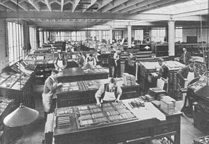 Gale & Polden - Composing department at Gale and Polden's Wellington Works in Aldershot c.1915