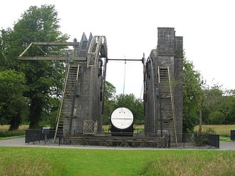 The great telescope of Birr, the Leviathan of Parsonstown. Modern day remnants of the mirror and support structure. Great Telescope, Birr, Offaly 1.jpg