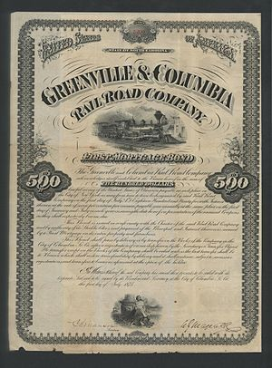 Greenville and Columbia Railroad - Greenville and Columbia Railroad Company stock certificate, 1875.