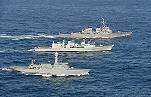Operation Nanook - Image: HDMS Vaedderen, HMCS Montreal, USS Porter proceed abreast during Operation Nanook (2010)