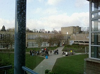Long Road Sixth Form College - Looking across towards the college's main buildings from the top floor of D Block.