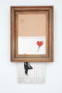<i>Love is in the Bin</i> 2018 art intervention from a 2006 Banksy painting