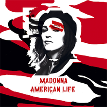 Madonna in a black beret and a black jacket half-open. Over her left face are two lines, painted in red. Behind her, upper left, eight black lines are seen with ten black stars on them.