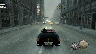 Mafia II - The player character driving through the streets of Empire Bay. Mafia II largely takes place in the early 1950s, with the first few chapters set in 1943 to 1945.