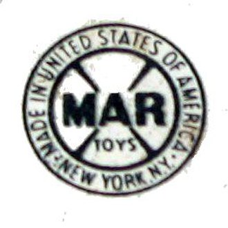 Louis Marx and Company - Marx logo on a lighted Watchman Tower from a train set.