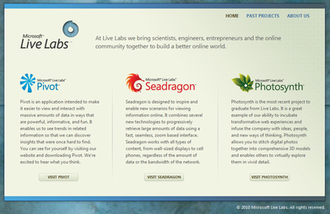 Microsoft Live Labs - Microsoft Live Labs home page.