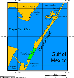 Mustang Island - Map showing Mustang Island, in a long chain of barrier islands (see: Padre Island, to the south).