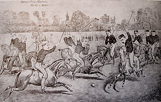 Oxford University Polo Club - Drawing of Christ Church vs Brasenose match in 1877.