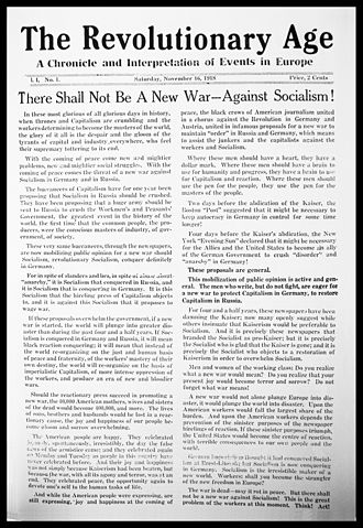 The Revolutionary Age - Debut issue of The Revolutionary Age, published November 16, 1918.