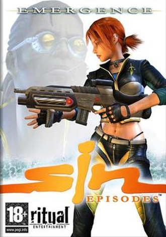 SiN Episodes - Boxart of the European retail release, showing Jessica Cannon in the foreground and John Blade in the background.