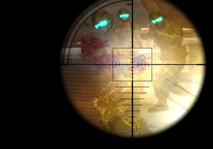 The player aims at a group of hostile soldiers...
