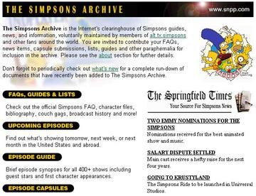 The Simpsons Archive (website screenshot)