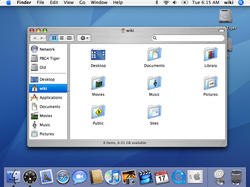 "The Mac OS X v10.4 ""Tiger"" desktop. Although the interface has undergone many changes, some aspects remain, such as the menu bar at the top of the screen."