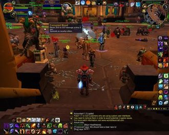 Corrupted Blood incident - The Corrupted Blood debuff being spread among characters in Ironforge, one of World of Warcraft's in-game cities.