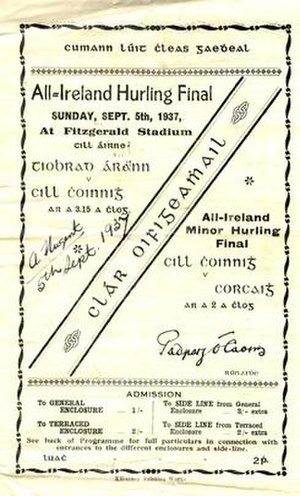 1937 All-Ireland Senior Hurling Championship Final - Image: 1937 All Ireland Senior Hurling Championship Final programme