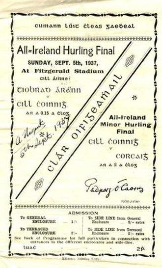1937 All-Ireland Senior Hurling Championship Final - Image: 1937 All Ireland Senior Hurling Championship Final programme