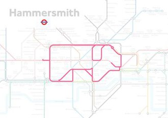 Tube map - The shape of a pig seen in the lines of the London Underground map, from Paul Middlewick's Animals on the Underground