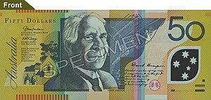 David Unaipon - An Australian $50 note featuring David Unaipon's image. The background features the Raukkan mission and Unaipon's mechanical shearer.