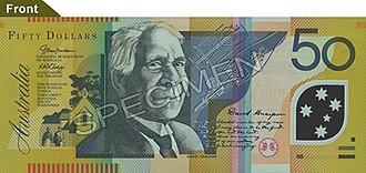Australian fifty-dollar note - Image: Australian $50 polymer front