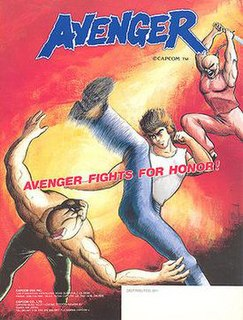 <i>Avengers</i> (1987 video game) 1987 overhead-view vertically scrolling beat em up arcade game developed and published by Capcom