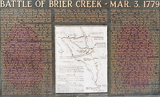 Battle of Brier Creek - State historical marker commemorating the battle. Picture taken March 3, 2007, the 228th anniversary of the battle.