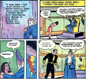 Black Adam's origin, as seen in The Marvel Family #1 (1945). Art by C. C. Beck and Pete Costanza Blackadamorigin.png