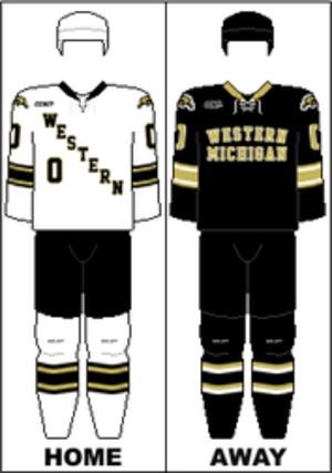Western Michigan Broncos men's ice hockey - Image: CCHA Uniform WMU