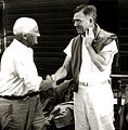 Camp Highlands Doc Monilaw (R) Shaking Hands with Angus Frew (L), mid 30s.jpg