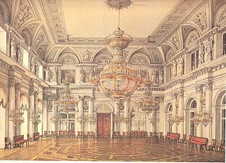 Neva Enfilade of the Winter Palace - The Concert Hall, the Winter Palace, St Petersburg. Looking towards the doors of The Nicholas Hall. This room, closest to the private apartments was reserved for the court's elite. Watercolor by Alexander Kolb (1860s).