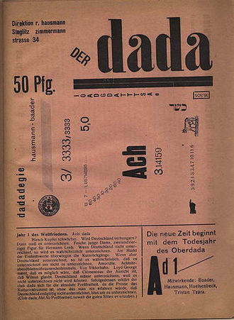 "Raoul Hausmann - Cover of der Dada vol1, including a poem, ""Dadadegie"", by Baader and Hausmann 1919"