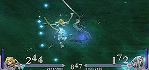 Dissidia Final Fantasy - A fight from Dissidia Final Fantasy featuring Zidane Tribal and Sephiroth.