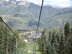 Purgatory Resort - A view of the resort from the chairlift in the summer.