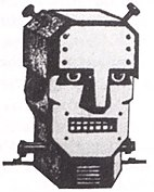 Black-and-white drawing of a metallic robot head