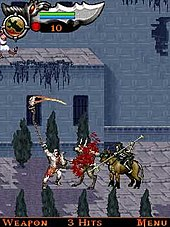 Protagonist Kratos attacks two enemies.