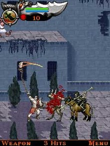 Three video game characters fight against a background of blue-gray buildings and pathways.