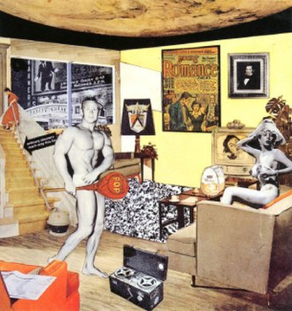 "Pop art - Richard Hamilton's collage Just what is it that makes today's homes so different, so appealing? (1956) is one of the earliest works to be considered ""pop art""."