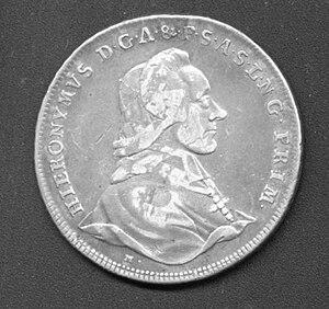 Count Hieronymus von Colloredo - Salzburg coin of Colloredo, 1780