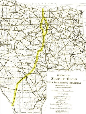 Interstate 35 in Texas - Most of Interstate 35 was built along existing roadways, as shown on this 1919 State Highway map. The actual location of Interstate 35 is added as a yellow overlay.