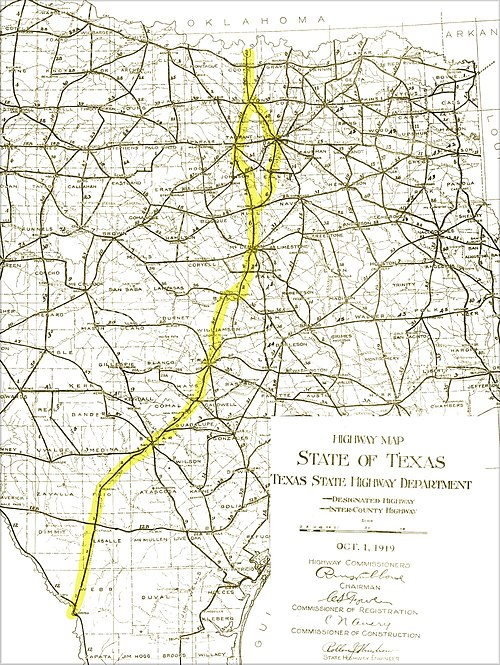Most of Interstate 35 was built along existing roadways, as shown on this 1919 State Highway map. The actual location of Interstate 35 is added as a yellow overlay. Interstate-35-corridor-1919-roadmap.jpg